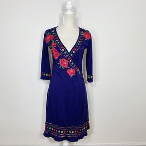 20c56f952 Johnny Was • 3/4 sleeve embroidered wrap dress